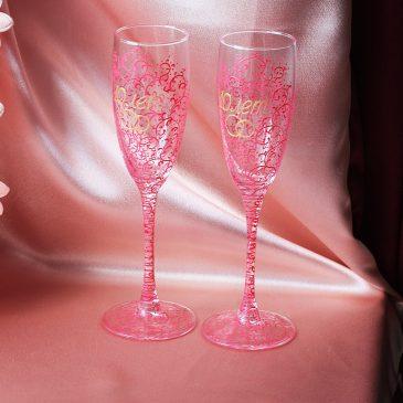 Свадебные бокалы Памятные розово-золотые