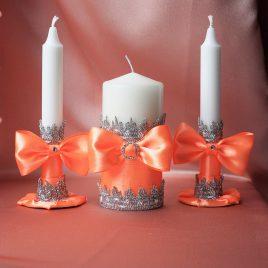 Свадебные свечи коралловые фиалки