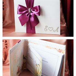 Альбом для пожеланий Бант сбоку фиолетовый с инициалами