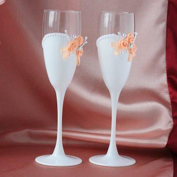 Свадебные бокалы Три цветка персиковые