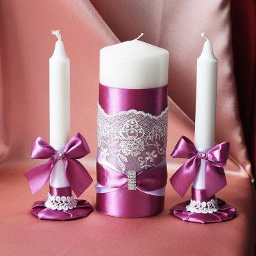 """Свадебные свечи """"Превосходные фиалки"""""""