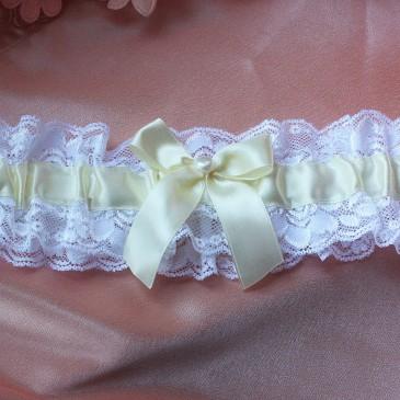 Свадебная подвязка невесты лента айвори