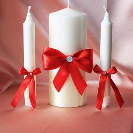 Свадебные свечи Красный на айвори