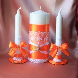 Свадебные свечи набор оранжевая нежность