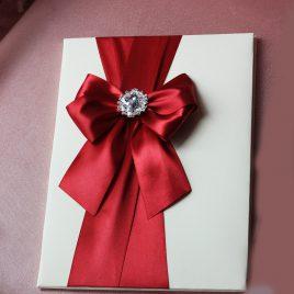 Папка для свидетельства о браке Бант Бордо на айвори с брошью