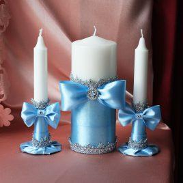 Свадебные свечи Голубые фиалки