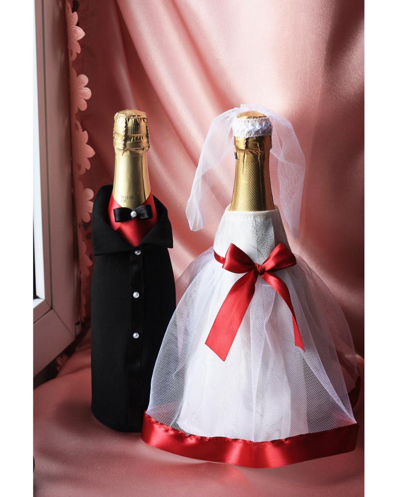 Одежда на бутылки Молодые с бордо ( съемная )