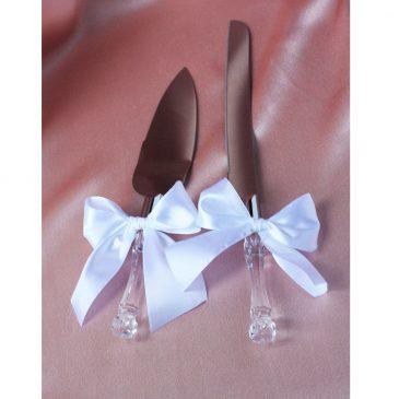 Лопатка и нож для торта с белыми бантиками