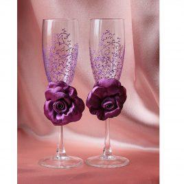 Свадебные бокалы красивая пара фиолетовая с розами