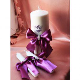 Свадебные свечи Бант на фиолетовой ленте с инициалами