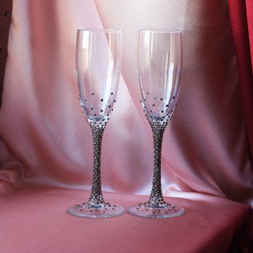 Свадебные бокалы Блеск коньяк