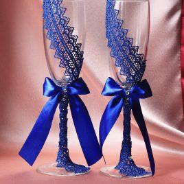 Свадебные бокалы Кружевная пара синяя