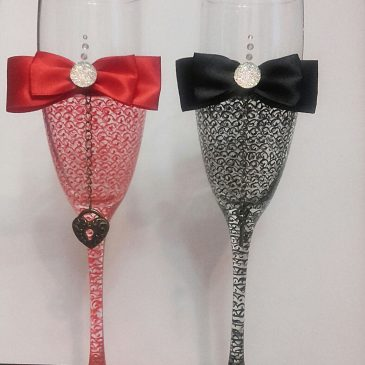 Свадебные бокалы Тайна черно-красная