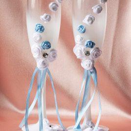 Свадебные бокалы Бело-голубая роза