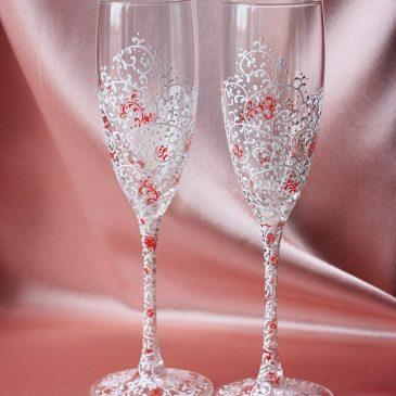 Свадебные бокалы Дуэт белый с красным