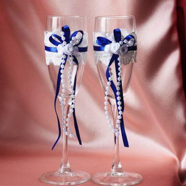 Свадебные бокалы Удача синяя