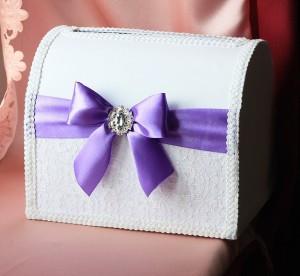 Папка для свидетельства о браке Бант фиолетовый с брошкой брак