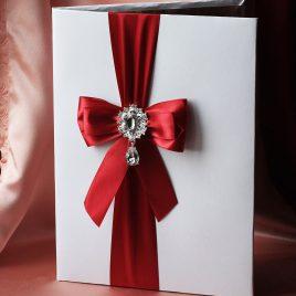 Папка для свидетельства о браке Эффект бордо с брошкой Формат А4