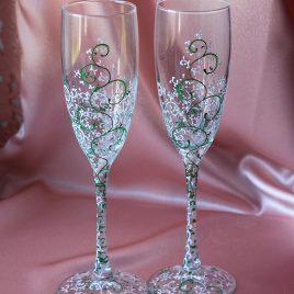 Свадебные бокалы Дуэт белый с зеленым роспись