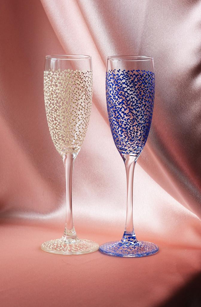Свадебные бокалы Легкие айвори с синим