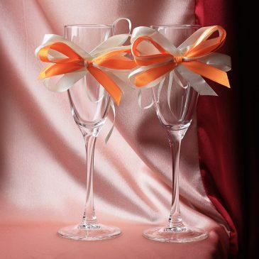 Украшение на бокалы Узы айвори с оранжевым съемные