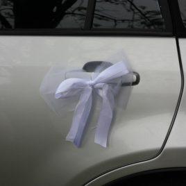 Бант на свадебную машину №1 белый