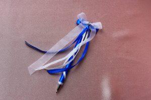 Свадебная ручка синяя с белым