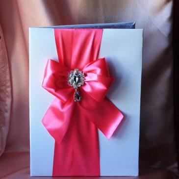 Папка для свидетельства о браке Бант розовый