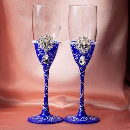 Свадебные бокалы Венера сини-белая