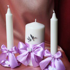 Свадебные свечи светло Сиреневые с голубями