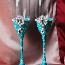 Свадебные бокалы Венера бирюза