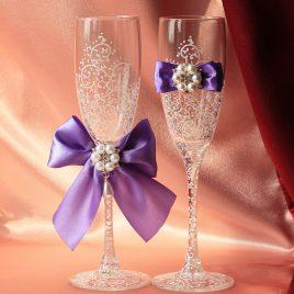 Свадебные бокалы Грация сиреневая