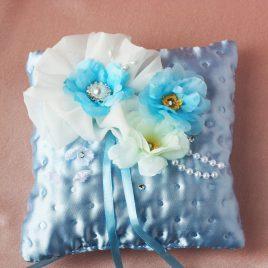 Свадебная подушка для колец Предание голубое
