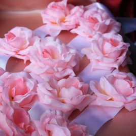 Лента Розы на капот розовые