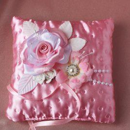Свадебная подушка для колец Предание розовое