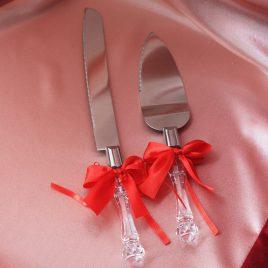 Лопатка и нож для торта с красными бантиками
