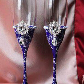 Свадебные бокалы Венера темно фиолетовая