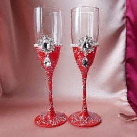 Свадебные бокалы Венера красная с бирюзой