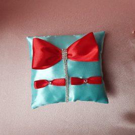 Подушка для колец Фаворитка бирюза с красным