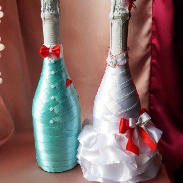 Одежда на бутылки красный бантик с бирюзой (не съемные)