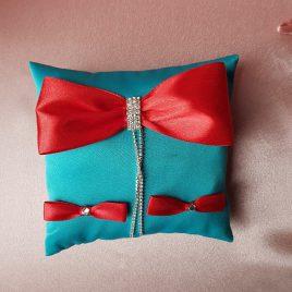 Подушка для колец Фаворитка бирюза темная с красным