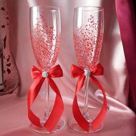 Свадебные бокалы красивая пара красная с подписью