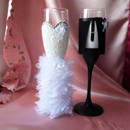Свадебные бокалы жених и невеста №3