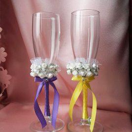 Свадебные бокалы Два букета желто-сиреневые №6