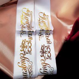 Ленты для свидетелей №14 белый с золотом