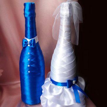 Одежда на бутылки С синим бантиком и бабочкой №3