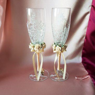 Свадебные бокалы Красивая пара два букета персик №8