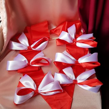 Свадебная лента на капот автомобиля №6 Бело-красная