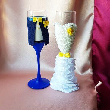 Свадебные бокалы Жених и невеста в пышном платье с желтым №14