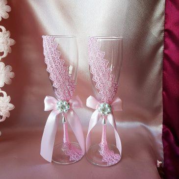 Свадебные бокалы Кружевная пара розовая №13